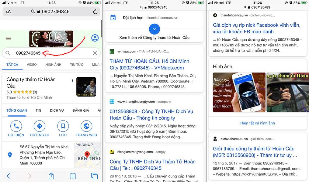 Cách tra cứu tìm kiếm thông tin số điện thoại qua Google Search