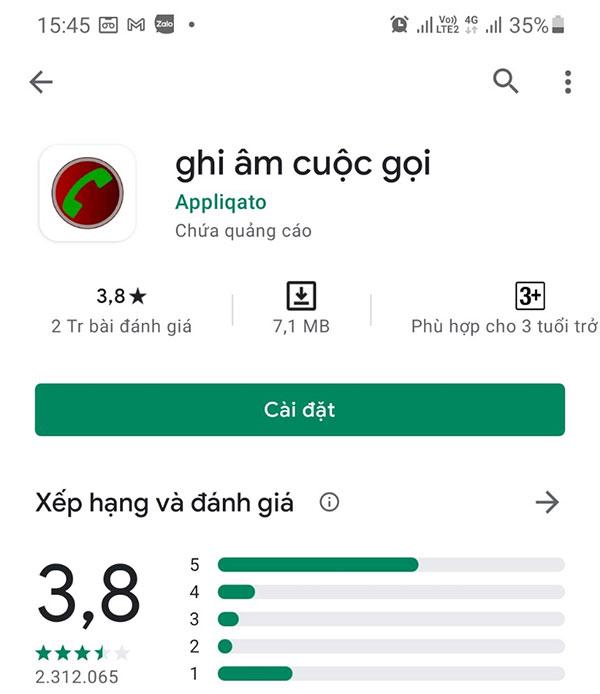 Ứng dụng ghi âm cuộc gọi (Appliquato) cho Android