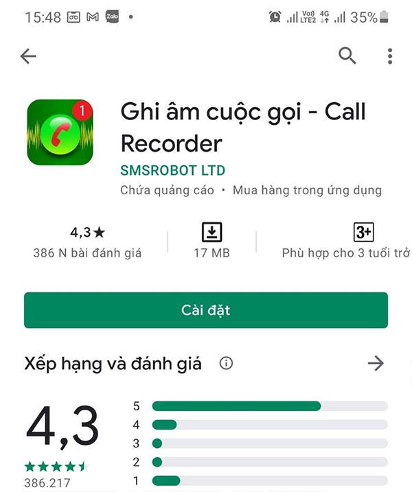 Ứng dụng ghi âm cuộc gọi - Call Recorder (SMSROBOT LTD) 2 chiều cho Android