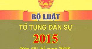 Bộ luật tố tụng dân sự 2015 sửa đổi, bổ sung 2019 mới nhất