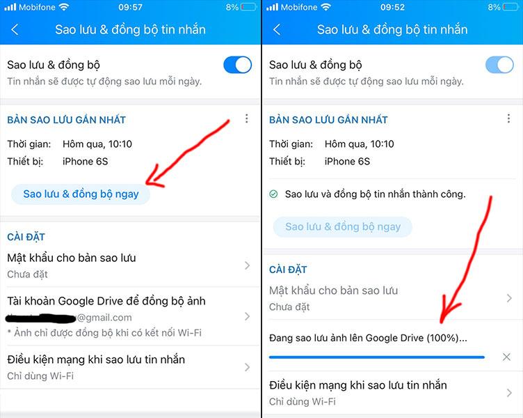 Cách thêm tài khoản Google Drive để sao lưu tin nhắn trên Zalo sau khi xóa