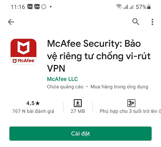 Tải ứng dụng McAfee Mobile Security diệt virus cho điện thoại Android